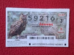 SPAIN DÉCIMO CUPÓN DE LOTERÍA LOTTERY LOTERIE ANIMAL FAUNA WILDLIFE BÚHO REAL LECHUZA O SIMIL OWL HIBOU BIRDS BIRD VER F - Billetes De Lotería