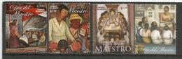 MEXIQUE. Dia Del Maestro ! Peintures Murales De Diego Rivera.  4 TIMBRES NEUFS ** - Mexique
