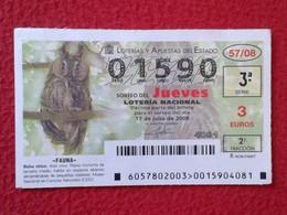 SPAIN DÉCIMO CUPÓN DE LOTERÍA LOTTERY LOTERIE ANIMAL FAUNA WILDLIFE BÚHO CHICO LECHUZA O SIMIL OWL HIBOU BIRDS BIRD VER - Billetes De Lotería