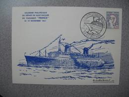 """Carte 1961 -  Souvenir Philatélique Du Départ De St-Nazaire Du Paquebot """" France """" Le 19 Novembre 1961 - Marcophilie (Lettres)"""