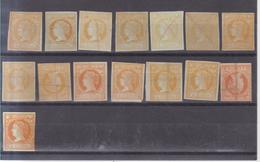 Año 1860 Edifil 52 4c Isabel II Lote De 15 Sellos Estudio  Variedad De Color - 1850-68 Kingdom: Isabella II