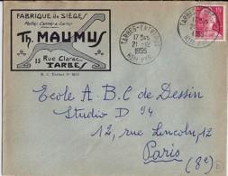 65 - HAUTES PYRENEES - TARBES ENTREPOT - 1955/59 - TàD De Type A7 + ENTETE - Storia Postale