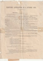 *** 17  **** Election Législative 1885 CHARENTE INFERIEURE - Liste Républicaine - - Decreti & Leggi