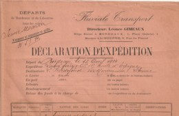 *** 33  ***  Liaison Fluviale Bordeaux Libourne - Déclaration D'Expedition -1904 - Titres De Transport