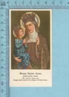 - Gold Print, Bonne Sainte Anne + Priere, Image Pieuse, Religieuse, Holy Card, Santini - Images Religieuses