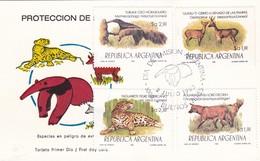 PROTECCION DE FAUNA-FDC 1983 L'ARGENTINE, CARD. 4 STAMPS - BLEUP - Protection De L'environnement & Climat