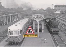 Autorail ABJ2 Et Locomotive 140 C 162, à Saint-Brieuc (22) - - Stations With Trains