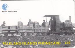 FALKLAND ISL.(chip) - Train, Camber Railway, Used - Falklandeilanden