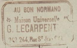 "Carte Commerciale 1898 / Entier / G. LECARPENTIER / Meubles ""Au Bon Normand""/ 14 Caen Calvados - Cartes"