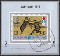 Ajman 1971 Mi. 763B Anna Hubler Oro Londra 1908 Pattinaggio (Sapporo '72) Sheet Nuovo CTO - Pattinaggio Artistico