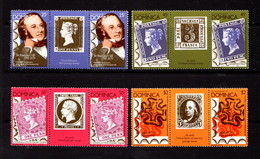 DOMINICA   1979    Death  Centenary  Of  Sir  Rowland  Hill   Set  Of  4  Gutter  Pairs  2nd  Series       MNH - Dominica (1978-...)