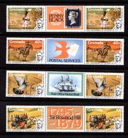 GRENADA   1979    Death  Centenary  Of  Sir  Rowland  Hill   Set  Of  4  Gutter  Pairs         MNH - Grenada (1974-...)