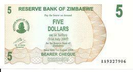 ZIMBABWE 5 DOLLARS 2006 UNC P 38 - Zimbabwe