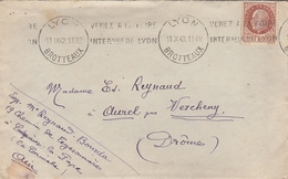 """LAC 1943 - Flamme """" Venez à La Foire Internationale De Lyon"""" - Cachet LYON BROTTEAUX Sur Timbre Pétain - Marcofilia (sobres)"""