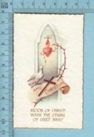 NB 5075 - Gold Print, Colombes Amo Christum, Coeur Flambant -  Image Pieuse, Religieuse, Holy Card, Santini - Images Religieuses