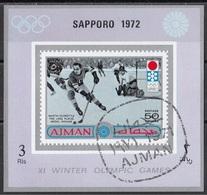 Ajman 1971 Mi. 765B Martin Schröttle Oro Lake Placid 1932 Hockey Su Ghiaccio (Sapporo '72) Nuovo Preobliterato - Ajman
