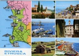 RIVIERA ETRUSCA  LIVORNO Geografica E Vedutine Marina Di Cecina Bolgheri Castagneto Campiglia Papulonia Baratti Piombino - Carte Geografiche