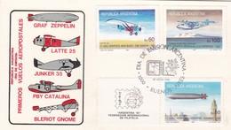 PRIMEROS VUELOS AEROPOSTALES-FDC 1985 L'ARGENTINE, CARD. 3 DIFFERENT STAMPS - BLEUP - Otros (Aire)
