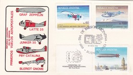PRIMEROS VUELOS AEROPOSTALES-FDC 1985 L'ARGENTINE, CARD. 3 DIFFERENT STAMPS - BLEUP - Trasporti