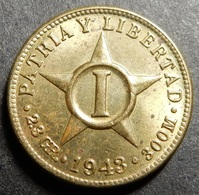Cuba 1 Centavo 1943 WWII KM#9.2a Brass One-year-type Top Grade! - Cuba