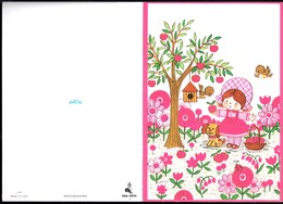 Illustrateur Signé RENE ''Petite Fille & Chien Cueillette De Fruits'' Edition STELLA Juniors Carte Double - Illustrateurs & Photographes