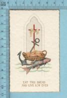 NB 5069 - Gold Print, Poisson, Croix Ancre JHS-  Image Pieuse, Religieuse, Holy Card, Santini - Images Religieuses