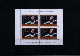 Romania 1999 Solar Eclipse / Pavarotti  KB Postfrisch / Sheet MNH - Musik
