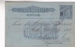 POSTAL STATIONERY ENTIER ENTERO-UNION POSTAL CHILE 6 CTVS CIRCULEE A L'ARGENTINE 1911 - BLEUP - Chile
