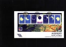 Alderney 1999 Solar Eclipse Block FDC - Astronomia