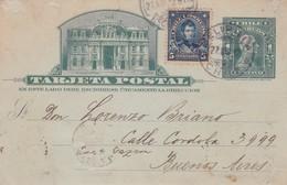 POSTAL STATIONERY ENTIER ENTERO-TARJETA POSTAL CHILE 1CTV CIRCULEE MELIPILLA A BUENOS AIRES 1912 - BLEUP - Chile