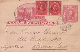POSTAL STATIONERY ENTIER ENTERO-TARJETA POSTAL CHILE 2CTVS CIRCULEE MELIPILLA A BUENOS AIRES 1911 STAMP A PAIR  - BLEUP - Chile