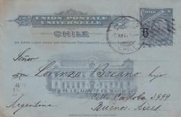 POSTAL STATIONERY ENTIER ENTERO-TARJETA POSTAL CHILE 6CTVS CIRCULEE MELIPILLA A BUENOS AIRES 1911 - BLEUP - Chile