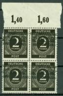 Bizone 4x52I Oberrandviererblock ** Postfrisch - Bizone