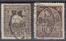 RODI (occupazione ITALIA) - 1932/1933 - Lotto 2 Valori Obliterati: Yvert 50 E 54. - Egeo (Rodi)