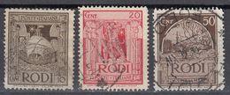 RODI (occupazione ITALIA) - 1932/1933 - Lotto 3 Valori Obliterati: Yvert 50, 51 E 54. - Egeo (Rodi)