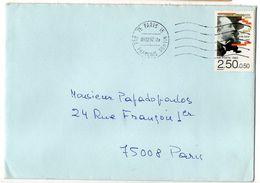 """1992--tp Avec Surtaxe  """"Erik Satie"""" Seul Sur Lettre  ---cachet Mécanique  PARIS 15 - Marcophilie (Lettres)"""