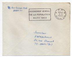 1968--Lettre De PARIS 34 Pour Paris 19°--flamme Recensement Population MARS 1968-cachet  PP  PARIS 34 - 1961-....