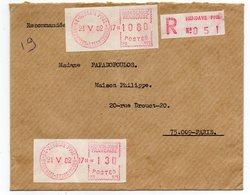 1982--Lettre Recommandée De HENDAYE-64  Pour Paris 9°--cachet Et Vignette  MOG Guichet Hendaye Ppal - 1961-....