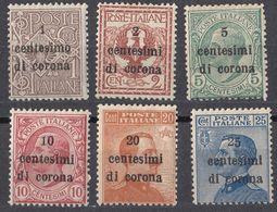 VENEZIA GIULIA, EMISSIONI GENERALI - 1919 -  Lotto Sei Valori Nuovi (MH E MNH): Unificato 1/6 - 8. Besetzung 1. WK
