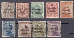 VENEZIA GIULIA, EMISSIONI GENERALI - 1919 -  Lotto 9 Valori Nuovi (MH E MNH): Unificato 1/9. - Oest. Besetzung