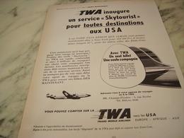 ANCIENNE PUBLICITE SERVICE SKYTOURIST  VOYAGE TWA 1952 - Manifesti