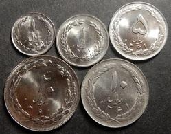Iran Complete Copper-Nickel Set 1+2+5+10+20 Rials 1982 SH 1361 Top Grade Rare! - Iran