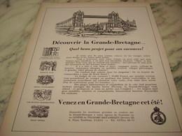 ANCIENNE PUBLICITE VOS VACANCES DECOUVRIR LA GRANDE BRETAGNE 1952 - Publicité