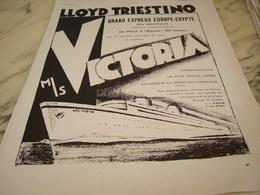 ANCIENNE PUBLICITE VOYAGE EUROPE EGYPTE  LE  PAQUEBOT VICTORIA 1931 - Bateaux