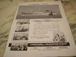 ANCIENNE PUBLICITE LE PAQUEBOT  LIAUTEY 1952 - Bateaux