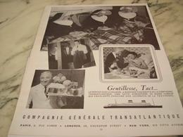 ANCIENNE PUBLICITE GENTILLESSE TACT VOYAGE  TRANSATLANTIQUE 1952 - Publicités