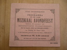Dendermonde Eeste Wereldoorlog 1916 Krijgsgevangenen Comiteit Muzikaal Avondfeest - Programmes