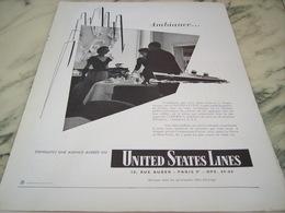 ANCIENNE PUBLICITE CROISIERE UNITED STATES LINES  1953 - Bateaux