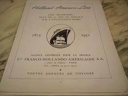 ANCIENNE PUBLICITE CROISIERE HOLLAND - AMERICA LINE 1951 - Bateaux