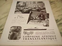 ANCIENNE PUBLICITE PLAISIR DE LA TABLE PAQUEBOT LIBERTE TRANSATLANTIQUE 1953 - Publicités